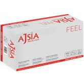 Manusi latex AJSIA Feel, unica folosinta, usor pudrate, 0.10mm, 100 buc/cutie - albe - marime   S
