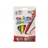 Carioca super lavabila, varf gros 6mm,  6 culori/cutie, CARIOCA Jumbo
