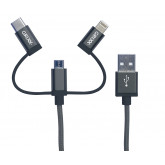 Cablu date GRIXX Optimum - 3 in 1 Micro USB/USB-C/8-pin Apple MFI License, impletit, lungime 1m - gr