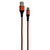 Cablu date GRIXX - USB-C to USB, impletit, lungime 1m - rosu/negru