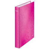 Caiet mecanic LEITZ WOW, carton laminat, A4, mecanism 2DR, inel 25 mm, roz