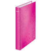 Caiet mecanic LEITZ WOW, carton laminat, A4, mecanism 4DR, inel 25 mm, roz
