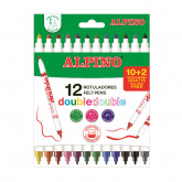 Carioca lavabila, 12 culori/cutie, vaft 2mm/4.5mm, ALPINO Double Double - culori clasice