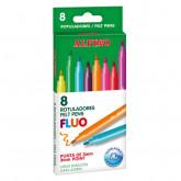 Carioca lavabila,  8 culori/cutie, ALPINO Fluo - culori fluorescente