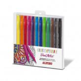 Carioca cu 2 capete, varf liner 0.7mm/tip pensula, 12 culori/set,  ALPINO Color Experience