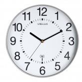 Ceas de perete, controlat prin radio, UNILUX Maxi Wave - gri/alb