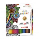 Creioane colorate, cutie carton, 24 culori/set, ALPINO Color Experience - Premium