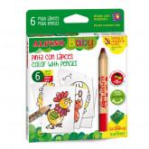 Creioane colorate,  6 culori/set, 6 carduri cu animale, pt. colorat, ALPINO Baby - Maxi