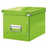 Cutie depozitare LEITZ WOW Click & Store, carton laminat, Cub, medie,verde