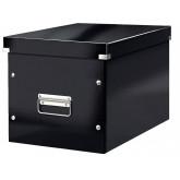Cutie depozitare LEITZ WOW Click & Store, carton laminat, Cub, mare, negru