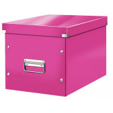 Cutie depozitare LEITZ WOW Click & Store, carton laminat, Cub, mare, roz