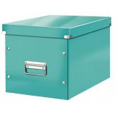Cutie depozitare LEITZ WOW Click & Store, carton laminat, Cub, mare, turcoaz