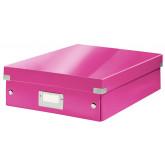 Cutie depozitare LEITZ WOW Click & Store Organizer, carton laminat, medie, roz