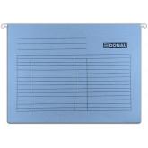 Dosar suspendabil cu eticheta, bagheta metalica, carton 230g/mp, 5 buc/set, DONAU - albastru