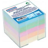 Cub hartie cu suport plastic, 92x92x82mm, DONAU - hartie culori pastel asortate