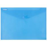 Mapa PP protectie documente A4 landscape, inchidere cu capsa, 12/set, DONAU - albastru transparent