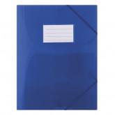 Mapa plastic cu elastic pe colturi, cu eticheta, 480 microni, DONAU - albastru transparent