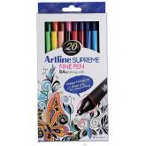 Liner ARTLINE Supreme, varf fetru 0.4mm, 20 culori/set