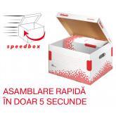 Container arhivare si transport ESSELTE Speedbox, cu capac, carton, dimensiune M, alb