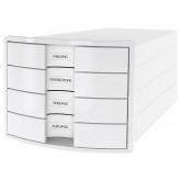 Suport plastic cu 4 sertare pt. documente, HAN Impuls 2.0 - alb - sertare albe