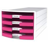 Suport plastic cu 4 sertare pt. documente, HAN Impuls 2.0 (open) - alb - sertare roz