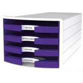 Suport plastic cu 4 sertare pt. documente, HAN Impuls 2.0 (open) - alb - sertare violet