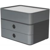 Suport cu 2 sertare + cutie ustensile HAN Allison Smart Box Plus - gri granite