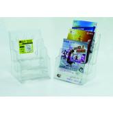 Display plastic pentru brosuri, de birou/perete, 3 x A5, KEJEA - transparent