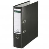 Biblioraft LEITZ 180, A4, plastifiat PP, margine metalica 80 mm - negru