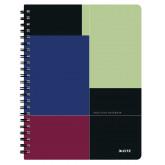 Caiet de birou LEITZ Executive, PP, A4, cu spira, matematica - negru/violet