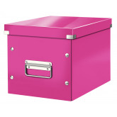 Cutie depozitare LEITZ WOW Click & Store, carton laminat, Cub, medie, roz