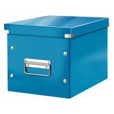 Cutie depozitare LEITZ WOW Click & Store, carton laminat, Cub, medie, albastru