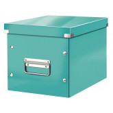 Cutie depozitare LEITZ WOW Click & Store, carton laminat, Cub, medie, turcoaz