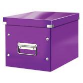 Cutie depozitare LEITZ WOW Click & Store, carton laminat, Cub, medie, mov