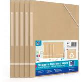 Mapa carton reciclat, cu elastic pe colturi, 5 buc/set, OXFORD Touareg - kraft/alb