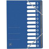 Mapa carton pentru sortare cu 12 separatoare si index, elastic pe colturi, OXFORD Top File - albastr