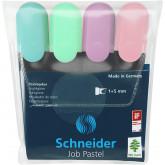 Textmarker SCHNEIDER Job Pastel, varf lat, 4 culori/set -(turcoaz, menta, lavanda, roze)
