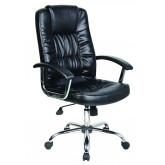 Scaun de birou, brate metalice, rotile, piele ecologica eleganta, Office Products Cyprus - negru