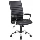 Scaun de birou, brate plastic, rotile, piele ecologica, Office Products Ibiza - negru