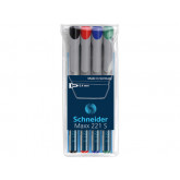 Universal non-permanent marker SCHNEIDER Maxx 221 S, varf 0.4mm, 4 culori/set - (N, R, A, V)