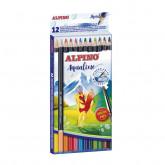 Creioane colorate acuarela, cutie carton, 12 culori/set, ALPINO Aqualine