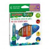 Creioane cerate, in suport de plastic, 6 culori/set, ALPINO Baby Sticks