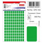 Etichete autoadezive color,  8 x 12 mm, 550 buc/set, TANEX - verde fluorescent