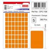 Etichete autoadezive color, 12 x 17 mm, 280 buc/set, TANEX - orange fluorescent