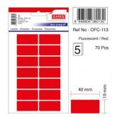 Etichete autoadezive color, 19 x 40 mm, 70 buc/set, TANEX - rosu fluorescent