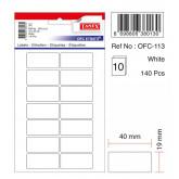 Etichete autoadezive albe, 19 x 40 mm, 140 buc/set, Tanex