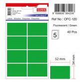 Etichete autoadezive color, 34 x 52 mm, 40 buc/set, TANEX - verde fluorescent