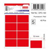 Etichete autoadezive color, 34 x 52 mm, 40 buc/set, TANEX - rosu fluorescent