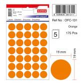 Etichete autoadezive color, D19 mm, 175 buc/set, TANEX - orange
