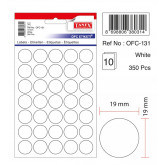 Etichete autoadezive albe, D19 mm, 350 buc/set, TANEX
